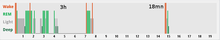 polyphasic sleep hypnogram with two naps - the third nap is missing